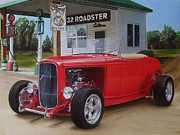 Custom Ford Drawings Metal Prints - 32 Ford at filling station Metal Print by Paul Kuras