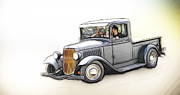 White Walls Framed Prints - 32 Ford Pickup  Framed Print by Steve McKinzie