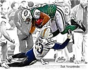 New York Jets Framed Prints - 323 Framed Print by Jack Kurzenknabe