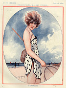 Beaches Drawings Posters - 1920s France La Vie Parisienne Magazine Poster by The Advertising Archives
