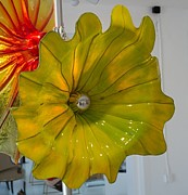 Steel Glass Art - 32in Yellow/Green Museum Flower by David Hines
