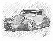 Factory Drawings Framed Prints - 33 Hot Rod Framed Print by John Jones