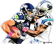 Sports Nfl Art Sketch Drawings Nfl Art Nfl Artwork Nfl Drawings Nfl Sketches Seattle Seahawksseattle Seahawks Russell Wilson Posters - 337 Poster by Jack Kurzenknabe