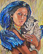 Cubs Mixed Media Posters - 339 Girl with Lion Cub Poster by Sigrid Tune