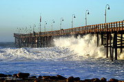 California Framed Prints - Ocean Wave Storm Pier Framed Print by Henrik Lehnerer