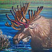 Original Art Mixed Media Prints - 348 Beaded Moose Print by Sigrid Tune