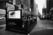 Manhatan Photo Prints - 34th Street Entrance To Penn Station Subway New York City Usa Print by Joe Fox