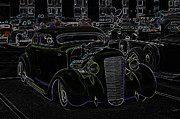 Deuce Coupe Framed Prints - 35 Ford Coupe Neon Glow Framed Print by Steve McKinzie