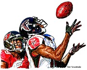 Sports Nfl Art Sketch Drawings Nfl Art Nfl Artwork Nfl Drawings Nfl Sketches Seattle Seahawksseattle Seahawks Russell Wilson Posters - 351 Poster by Jack Kurzenknabe