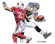 Sports Nfl Art Sketch Drawings Nfl Art Nfl Artwork Nfl Drawings Nfl Sketches Seattle Seahawksseattle Seahawks Russell Wilson Posters - 354 Poster by Jack Kurzenknabe