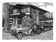 Metal Prints Drawings - 355 Junipero Long Beach C A by Jack Pumphrey