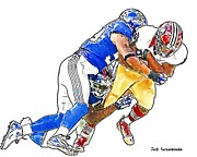 Sports Nfl Art Sketch Drawings Nfl Art Nfl Artwork Nfl Drawings Nfl Sketches Seattle Seahawksseattle Seahawks Russell Wilson Posters - 356 Poster by Jack Kurzenknabe