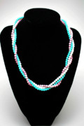 Handmade Necklace Jewelry - 3584 Three Strand Twisted Shell Necklace by Teresa Mucha