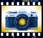 Blues Digital Art Posters - 35mm BLUES Canon AE-1 Poster by Mike McGlothlen