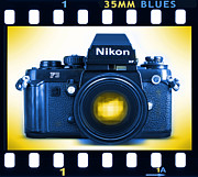 Blues Digital Art Posters - 35mm BLUES Nikon F-3hp Poster by Mike McGlothlen