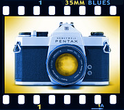 Blues Digital Art Posters - 35mm BLUES Pentax Spotmatic Poster by Mike McGlothlen