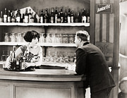 Wine Service Photo Metal Prints - Silent Film Still: Drinking Metal Print by Granger