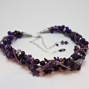 Crystals Jewelry - 3607 Multi Strand Adjustable Amethyst Necklace by Teresa Mucha