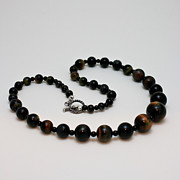 Black  Jewelry - 3608 Blue Tiger Eye Graduated Necklace by Teresa Mucha