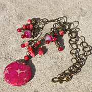 Funky Jewelry Originals - 3641 Pink Imperial Jasper Pendant Necklace by Teresa Mucha