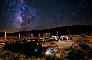 Ghost Town Prints - 37 Chevy and Milky Way Print by Cat Connor