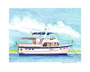 37 Foot Marine Trader 37 Trawler Yacht At Anchor Print by Jack Pumphrey