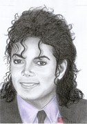 Michael Drawings Framed Prints - Michael Jackson Framed Print by Eliza Lo