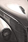 Antique Car Art Posters - 38 Ford Deluxe Sepia Poster by John  Bartosik