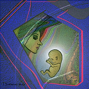 Woman Fetus Posters - 388  - Her unborn child   Poster by Irmgard Schoendorf Welch