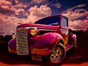 Chevrolet Pickup Truck Posters - 39 Chevy Pickup Maroond for the Night Poster by Chas Sinklier