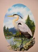 Great Blue Heron Paintings - 394 - Great Blue Heron by Sigrid Tune