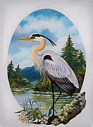 Great Blue Heron Paintings - 394W My World - Great Blue Heron by Sigrid Tune