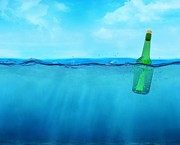 Angling Digital Art - 3d Bottle Floating On The Ocean Waterline View by Dan Cosma