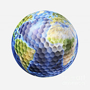Planet Map Framed Prints - 3d Rendering Of A Planet Earth Golf Framed Print by Leonello Calvetti