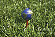 Round Of Golf Prints - 3d Rendering Of An Earth Golf Ball Print by Leonello Calvetti