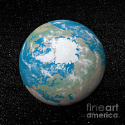 Three Dimensional Posters - 3d Rendering Of Planet Earth Centered Poster by Elena Duvernay