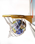 Basket Ball Game Prints - 3d Rendering Of Planet Earth Falling Print by Leonello Calvetti