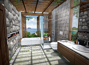 House Digital Art Originals - 3d Tropical bathroom by Thanes