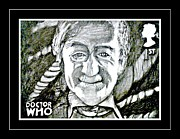 4th Drawings Framed Prints - 3rd Doctor Jon Pertwee Framed Print by Jenny Campbell Brewer
