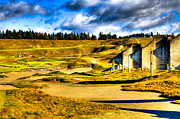 Us Open Art - #18 at Chambers Bay Golf Course - Location of the 2015 U.S. Open Tournament by David Patterson