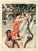 Wine Grapes Drawings Posters - 1920s France La Vie Parisienne Magazine Poster by The Advertising Archives