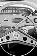 Steering Framed Prints - 1958 Chevrolet Impala Steering Wheel Framed Print by Jill Reger