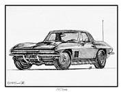 Rides Drawings - 1967 Corvette by J McCombie