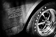 Boss Posters - 1969 Ford Mustang Boss 429 Sportsroof Side Emblem - Wheel Poster by Jill Reger
