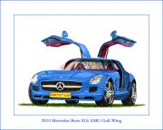 European Cars Drawings Posters - 2010 Mercedes Benz SLS Gull-Wing Poster by Jack Pumphrey