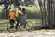 India Metal Prints - 3 Young Children On A Cycle At The Side Of The Road Metal Print by Ashish Agarwal