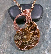 Featured Jewelry - Ammonite Fossil And Copper Wire-wrapped Pendant by Heather Jordan