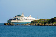 Water Scenes Prints - Antibes - Superyachts of Billionaires Print by Christine Till