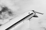 Passenger Plane Art - Aviation Icons - Supersonic Airliner Tupolev Tu-144 in black and white by Colin Utz