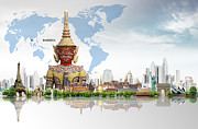 Authentic Inspiration Digital Art Posters - Background Travel Concept  Poster by Potowizard Thailand